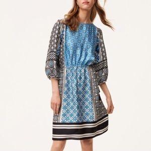 Loft Blue/Black Geometric Tassel Dress